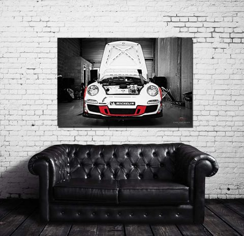 tableau toile imprim e grand format moderne porsche cars and roses. Black Bedroom Furniture Sets. Home Design Ideas