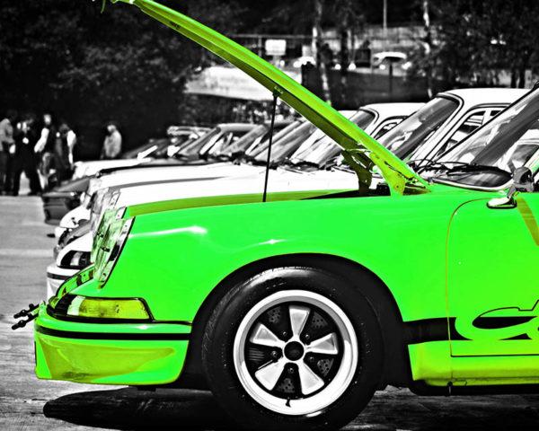 Tableau Toile Triptyque Porsche Vert