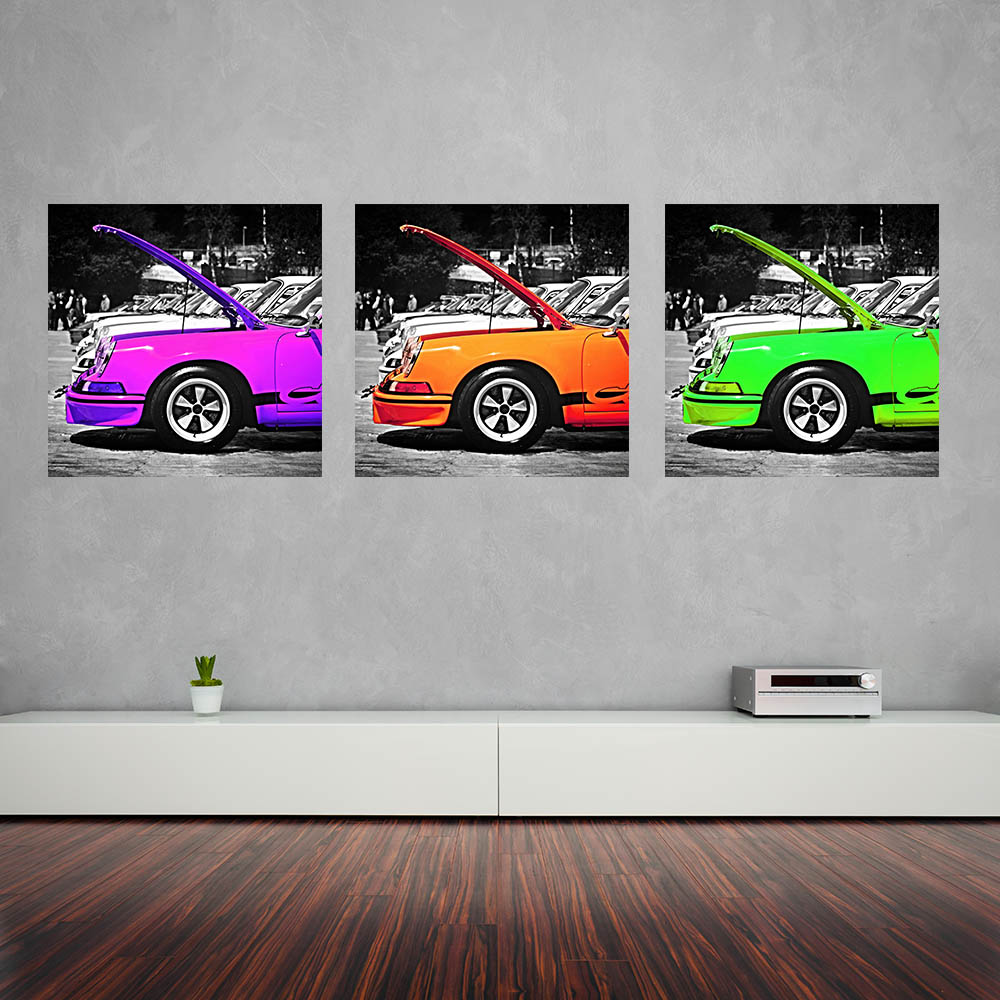 tableau d co triptyque voiture porsche violet cars and roses. Black Bedroom Furniture Sets. Home Design Ideas