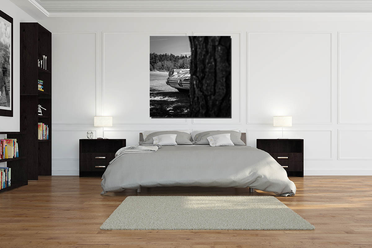tableau noir et blanc vieille porsche cars and roses. Black Bedroom Furniture Sets. Home Design Ideas