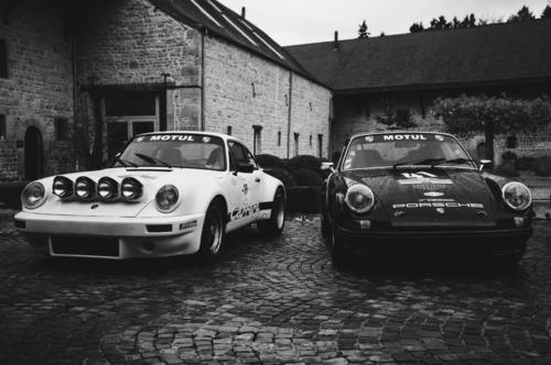 Photo Noir et Blanc Duo Porsche